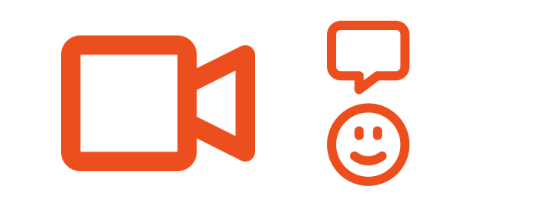Orange outline icons of movie camera and smiley with chat balloon