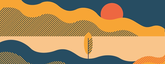 Illustration of fall desert sunset
