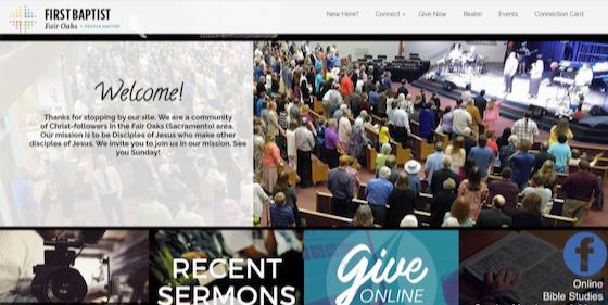 Screenshot of First Baptist of Fair Oaks Website Front