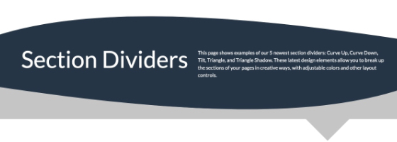 Section Dividers, rounded example, dark blue background with white text